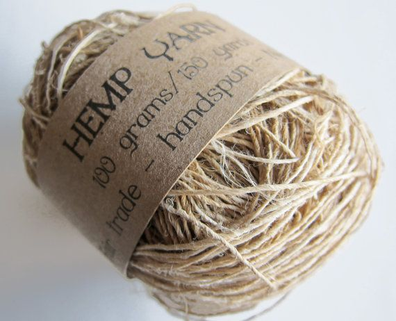 Hemp yarn handspun Fair Trade appx 150 yds by HamptonArtisticYarns, $6.50