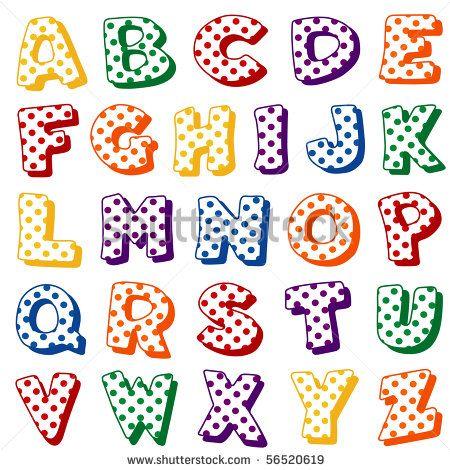 bubble letter cut outs polka dot alphabet original letter design