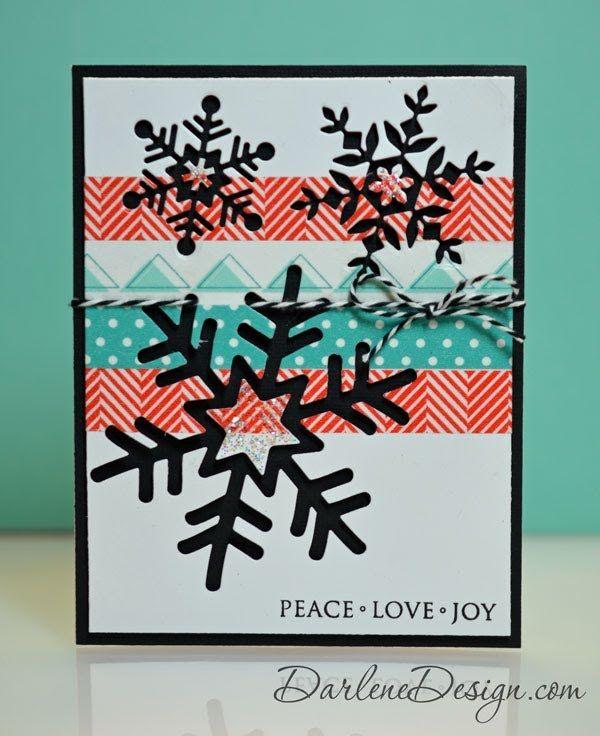 Modern Snowflake Card with Washi Tape