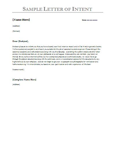 Letter Of Intent Examples | Sample Letter of Intent | Free Sample Letters