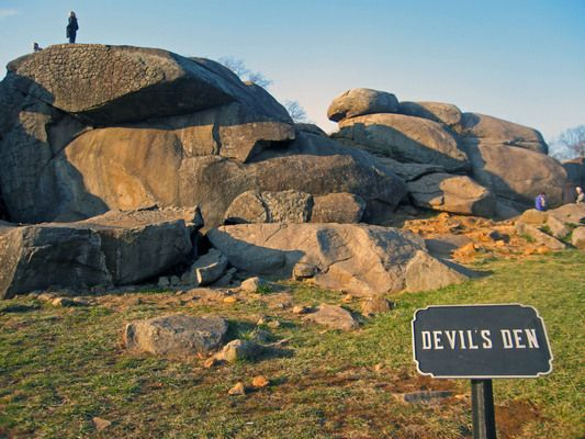 Devils Den at Gettysburg National Park - we love to climb through the rock formation to the top, with the kids.