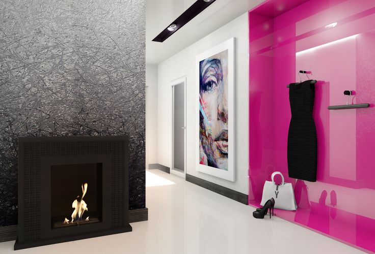 Black biofireplace JANUARY by kratki.pl. Modern interior white and pink.