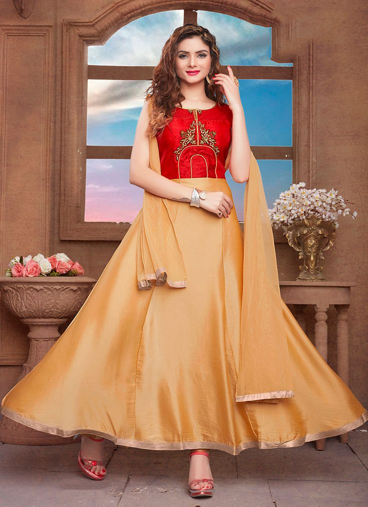 #Readymade #Beige #Silk Long #Anarkali #Shalwar Kameez #nikvik  #usa #designer #australia #canada #freeshipping #suits #pakistani