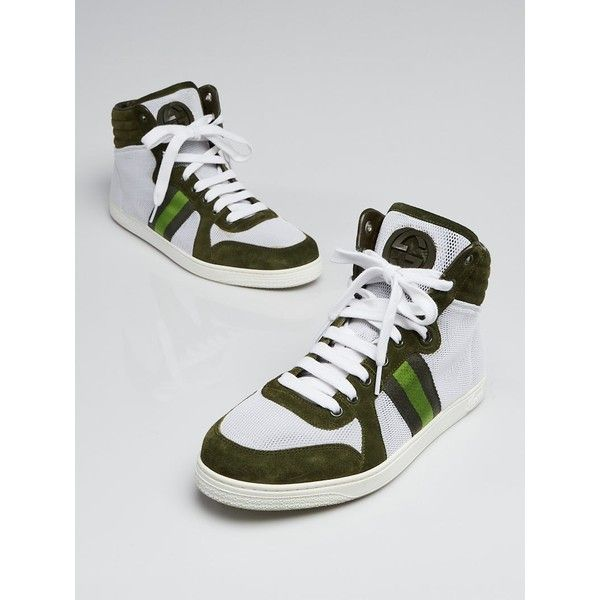 Pre-owned Gucci White/Green Suede Leather High Top Sneakers ($295) ❤ liked on Polyvore featuring shoes, sneakers, high-top sneakers, suede high top sneakers, gucci high tops, green shoes and green sneakers