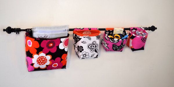 Laundry room?Sewing Room, Crafts Ideas, Mothers Huddle, Curtains Rods, Crafts Room, Fabrics Baskets, Hanging Fabrics, Sewing Tutorials, Hanging Baskets