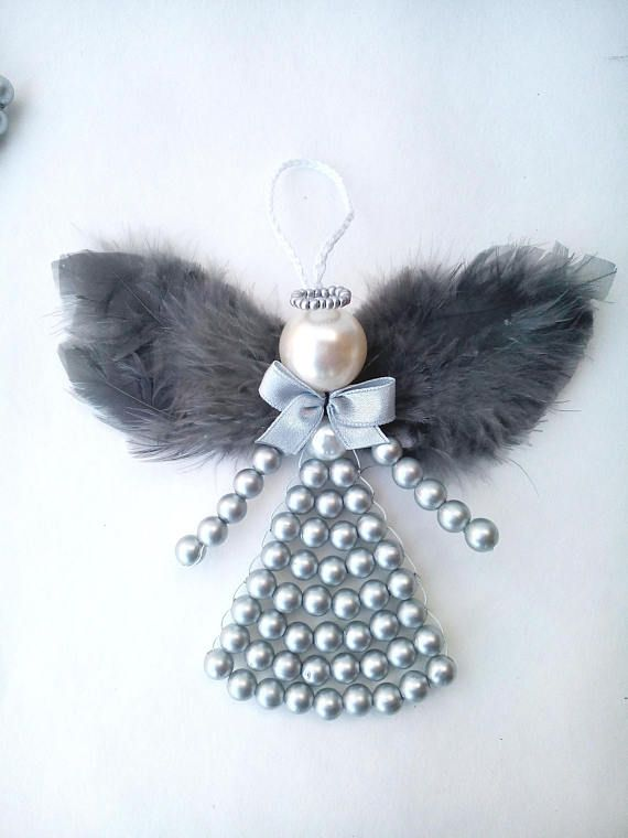 Feather angel luxury gift for godparents beaded angel