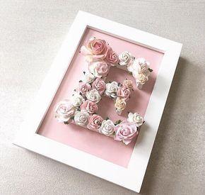 Custom made floral letter// babyshower gift // wedding gift // christening gift by AnnekajamBabyArt on Etsy https://www.etsy.com/listing/461357824/custom-made-floral-letter-babyshower