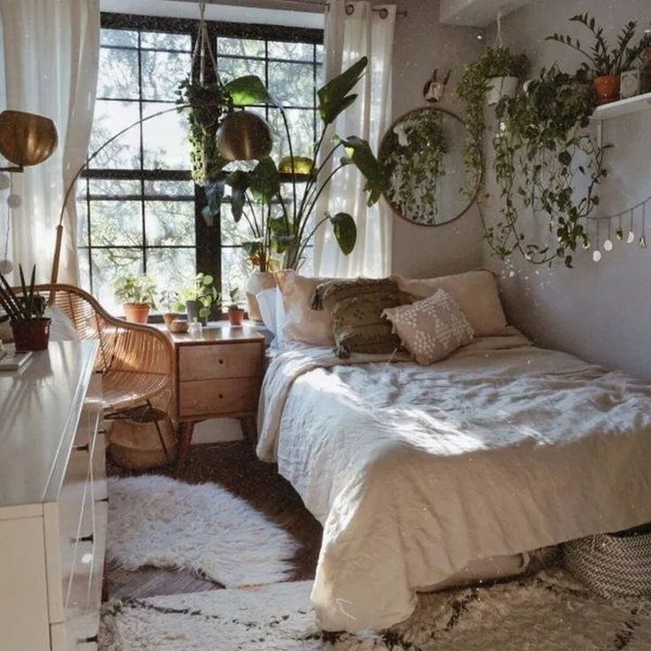 33 romantic bedroom decor ideas with plant theme 14 (with images) | aesthetic bedroom, bohemian