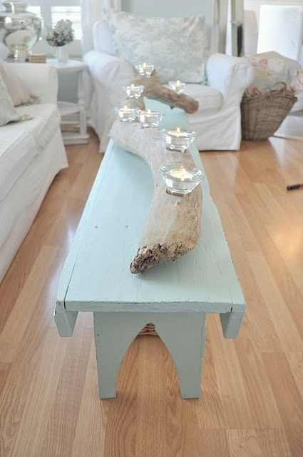 Easy to make drift wood candle holder...so great! Love the bench coffee table too.