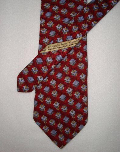 ERMENEGILDO-ZEGNA-Red-Multi-100-Silk-Leaves-Mens-Neck-Tie-Made-in-ITALY