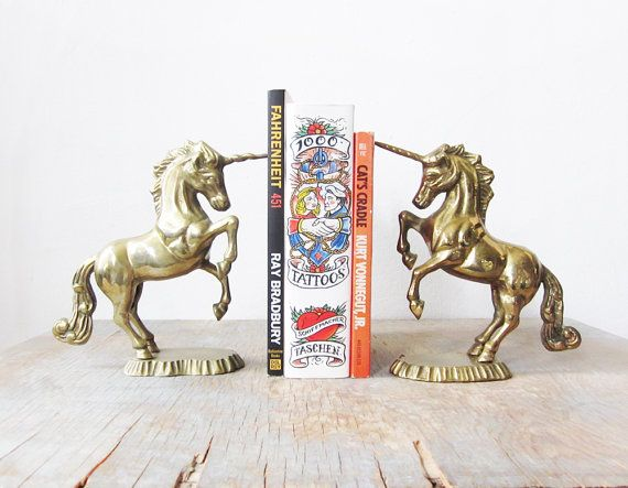 vintage+brass+unicorn+bookends+/+solid+brass+by+RustBeltThreads