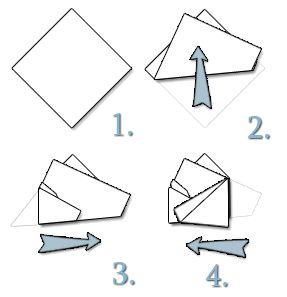 Anleitung Einstecktuch falten: Two-corners-up Faltung / Doppelte Dreiecksfaltung