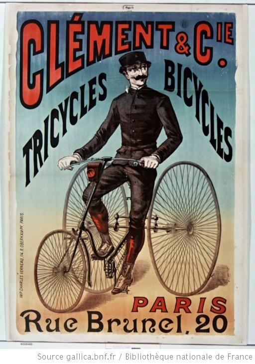 Clément et Cie Tricycles bicycles Paris rue Brunel, 20 : [affiche] / [non identifié] - 1890