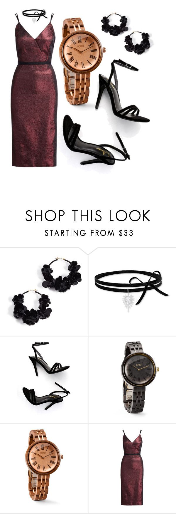 """""""Dress up with the Jord Wood Watch!"""" by donutsanddrama on Polyvore featuring Oscar de la Renta, Swarovski, LULUS, Cassia and Cinq à Sept"""