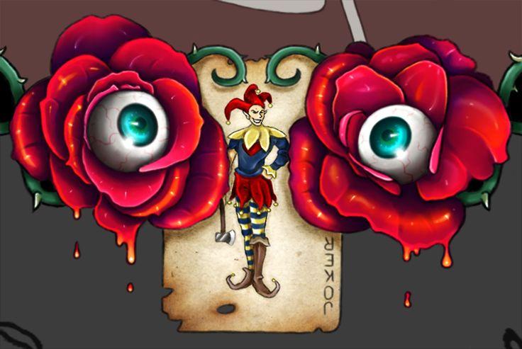 WIP - Commission frame by DarkFunhouse - Roses, Jester, Joker, Cards, Eyeballs