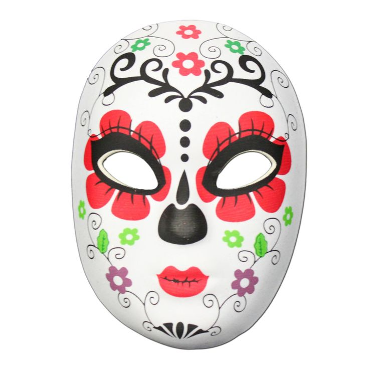 This Day of the Dead masquerade mask with a flower design is the perfect item to complete your festival outfit.  It is a made from a soft rubber half mask shell with a material covering.The Day of the Dead (Dia de Muertos) festival is celebrated throughout Mexico.  It is a multi-day holiday and focuses on gatherings of family and friends to pray for and remember friends and family members who have died, and help support their spiritual journey.