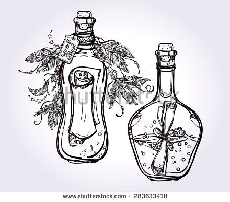 Message in a bottle (letters wrapped in a bottle) with feathers and text . Mini set. Tattoo, romance and adventure collection. Vintage style. Hand drawn isolated vector illustration.  - stock vector