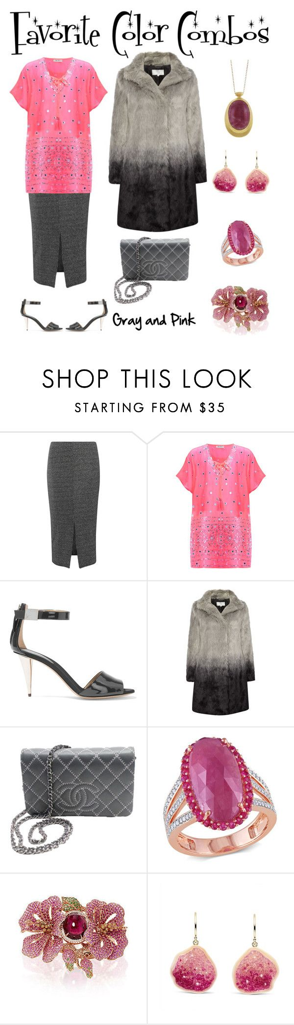 """""""Favorite Color Combos - Gray and Pink"""" by karen-galves on Polyvore featuring Dorothy Perkins, Blue Pearl, Giuseppe Zanotti, Gray & Willow, Chanel, Miadora, Wendy Yue and Ten Thousand Things"""