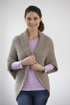 Canyon Shrug--it's actually a crochet pattern, but it gives the basic rectangle to knit or crochet and how to turn it into a shrug.
