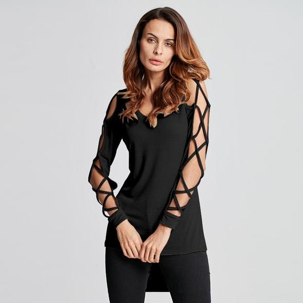 Plus Size Women Blouse Sexy Bandage Hollow Out Long Sleeve Shirt 2018 Summer Autumn V Neck High Low Split Tops Club Party Blusas