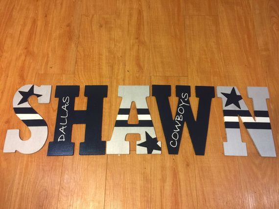 10.5in or 13.5 HAND PAINTED wooden Dallas cowboy letters