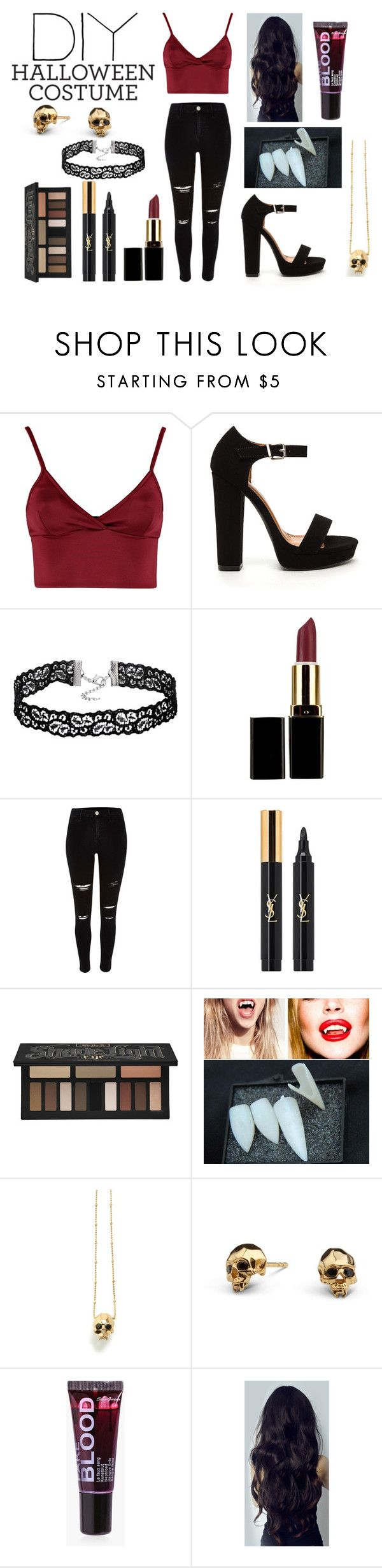 """DIY Vampire Halloween Costume"" by ariana-2102 ❤ liked on Polyvore featuring Lipsy, River Island, Yves Saint Laurent, Kat Von D, Kasun, Boohoo, halloweencostume and DIYHalloween"