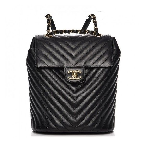 CHANEL Calfskin Chevron Quilted Small Urban Spirit Backpack Black ❤ liked on Polyvore featuring bags, backpacks, chevron backpack, quilted flap bag, chanel bags, zip bag and quilted bag