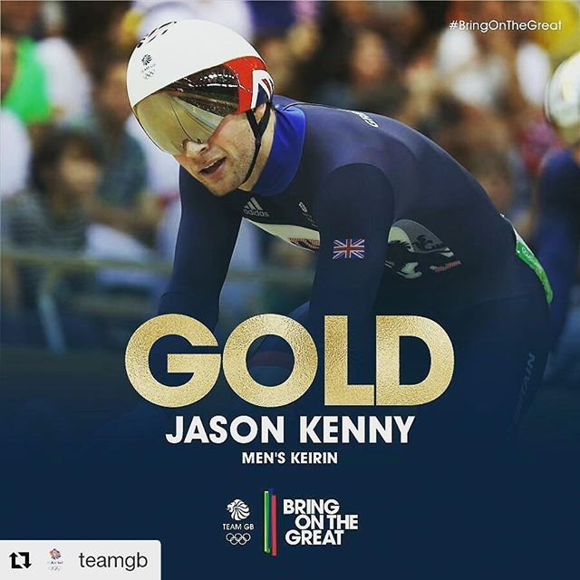 I let out a big whoop at this race after all the waiting #Repost @teamgb with @repostapp ・・・ After a few shaky starts, Jason Kenny blew away the field to win his SIXTH #GOLD !! #BringOnTheGreat #Cycling #Rio2016 #teamgb #olympicgames