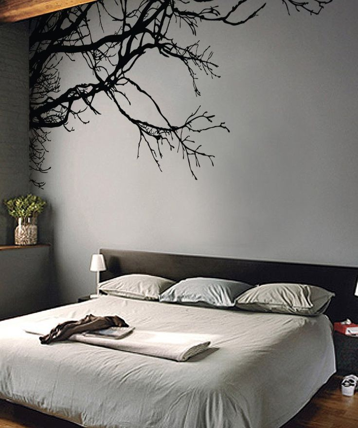 """Tree Top Branches in a Vinyl Wall Decal Sticker by Stickerbrand (measures 100"""" W x 44"""" H) - looks amazing on the gray wall!"""