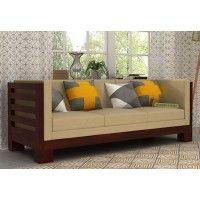 Hizen 3 Seater Wooden Sofa (Mahogany Finish)