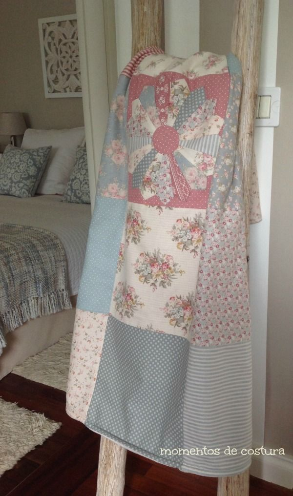 Una tierna combinación de telas y colores. Diseño sencillo y resultado magnifico. Momentos de Costura: Manta Dresden