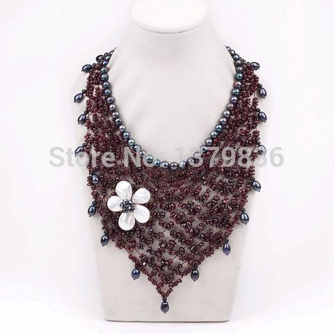 Купить Великолепный дизайн гранат и черный жемчуг и белый корпус цветок ну вечеринку ожерельеи другие товары категории Массивные ожерельяв магазине Lucky Fox JewelryнаAliExpress. Массивные ожерелья