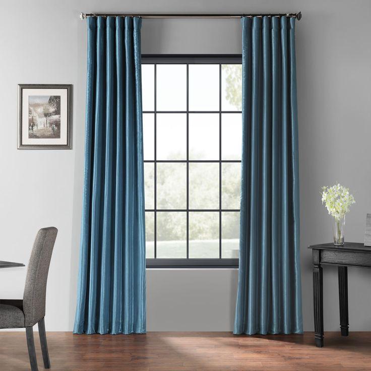 Nassau Blue Blackout Vintage Textured Faux Dupioni Silk Curtain