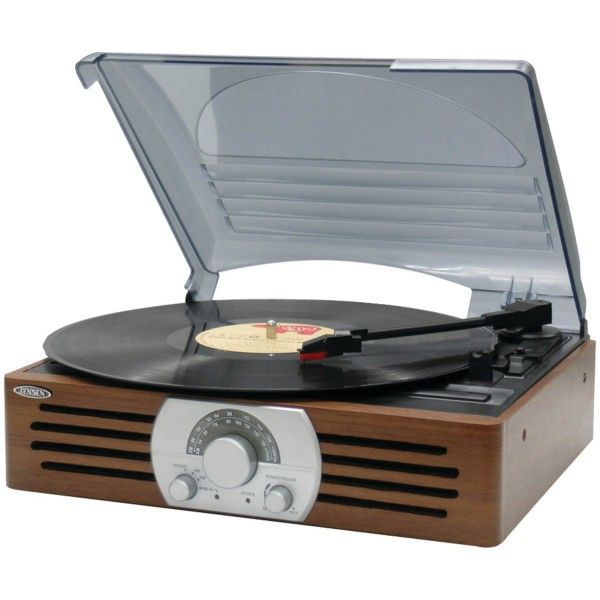 A cheap vinyl record player is a Jensen JTA-222 3-Speed Turntable.