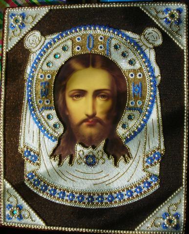 Вышитая бисером икона Спаса Нерукотворного