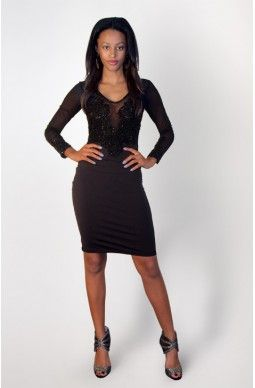 Pencil Long Sleeve Beaded Dress - $95 - Exclusively designed by Joan Dellavalle.