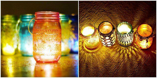 Lanternas pintadas em alto relevo, reaproveitando potes de vidro. A inspiração dos modelos vem do Marrocos, que possui uma decoração característica produzida com essa técnica. As lanternas podem ser feitas com lâmpadas ou velas.