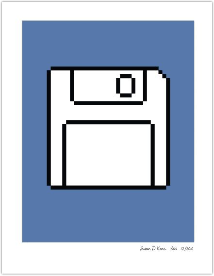 Floppy Disk on Blue print by Susan Kare, 8.5x11 $89 edition of 200