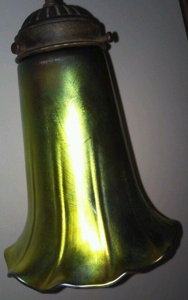 Unsigned Aurene Iridescent Art Glass Shade