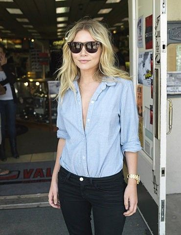 Chambray with black jeans. Yes please.