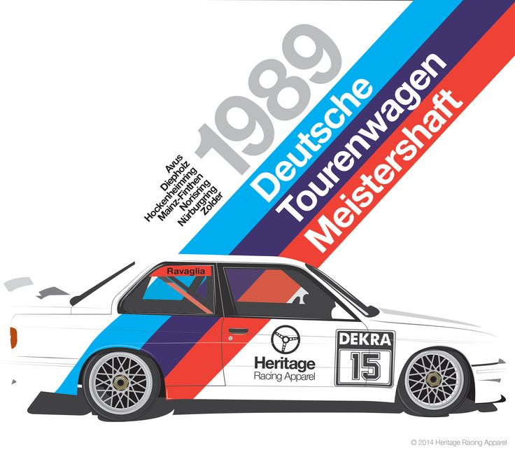 "The 1989 DTM Tee. The E30 BMW M3 was a killer on the track. This car won the 1989 German Touring Car Championship (the ""Deutsche Tourwagen Meistershaft""). The venues listed to the left of 1989 are the tracks that Italian Roberto Ravaglia campaigned the car. This is one of Casey's favorites. This design rocks any color shirt, so go ahead and treat the Bimmerphile in your life and order one in either white, gray or black. They'll love you for it."