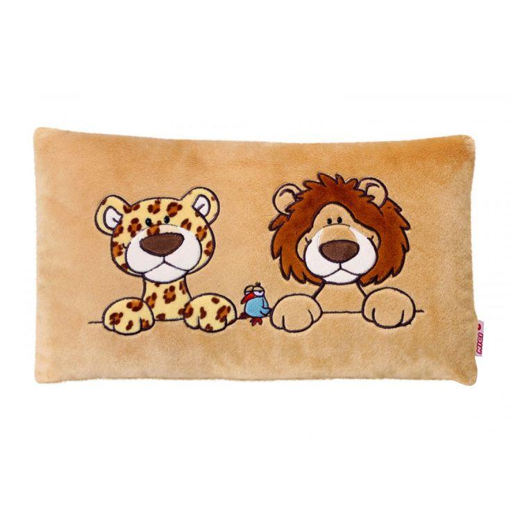 NICI Wild Leopard and Lion Rectangle Cushion 43x25cm