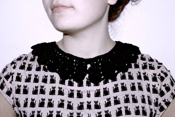 black crochet collar  makes every simple dress or shirt by petitus, $18.00