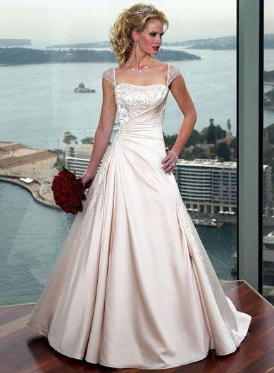 A-line Corset Back Cap Sleeve Satin Wedding Dresses