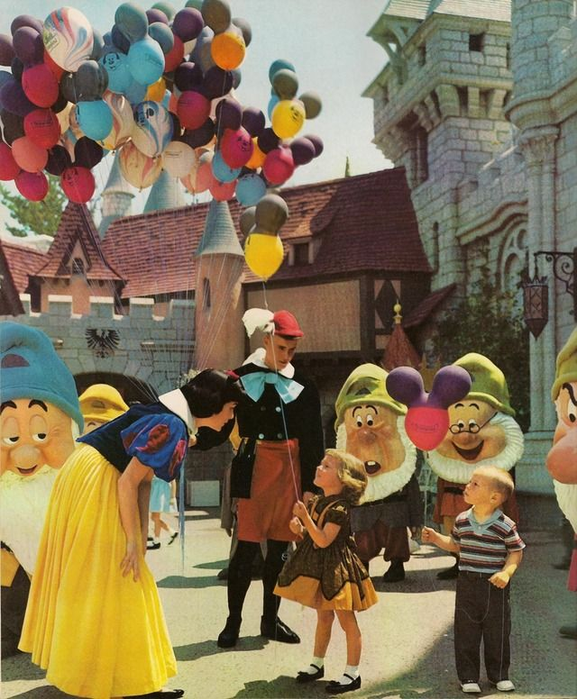 Vintage Disneyland. Remember the free-range characters?  You hardly ever see the Dwarfs in the park, only the parade.