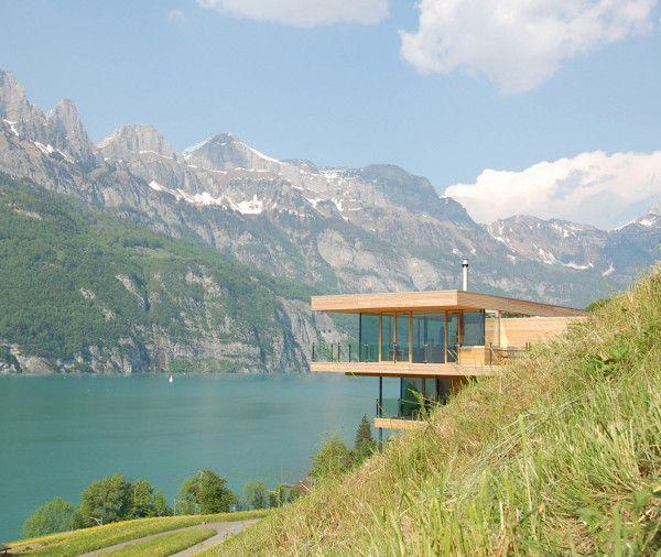 K M Architektur of Switzerland's Lake Walen. Amazing Home with a View