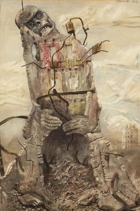 """Bronisław Linke """"Egzekucja w ruinach getta"""" z cyklu """"Kamienie krzyczą"""", 1946…"""