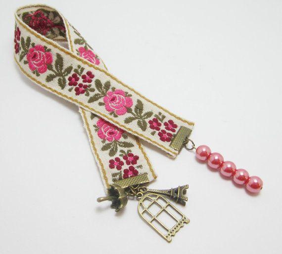 Victorian Flowers Cloth Ribbon Bookmark Vintage by WhispySnowAngel, $8.00