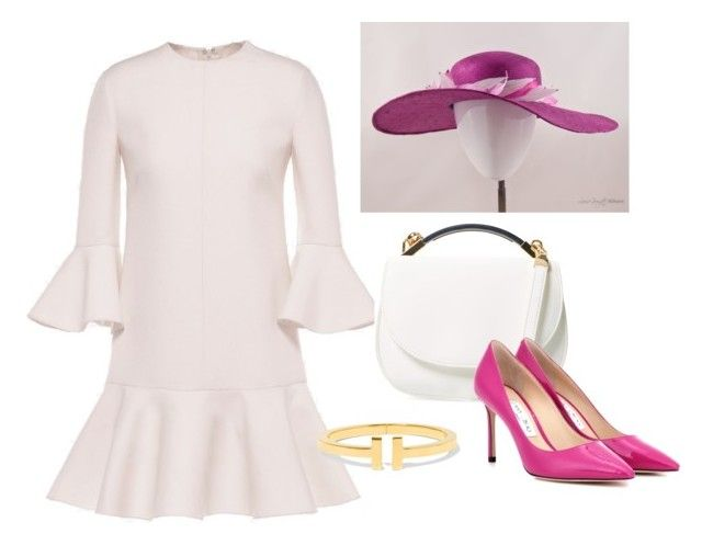 """Royal Ascot outfit with 'Fouetté' hat from www.louisegeorgettemillimery.com"" by louise-georgette on Polyvore featuring Valentino, Cynthia Rowley and Jimmy Choo"