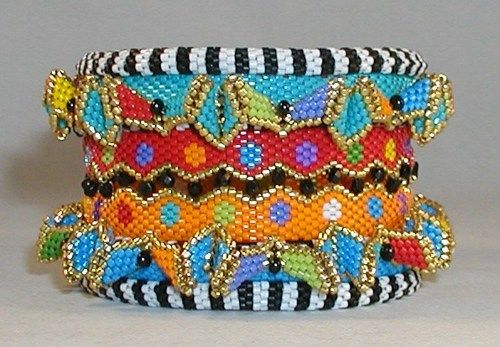 Beadwork cuffs and bangles. Great color work! Tutorial for $20.